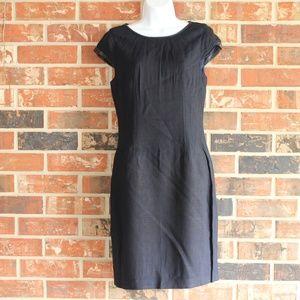 Elie Tahari Angie Sheath Dress Crepe leather trim